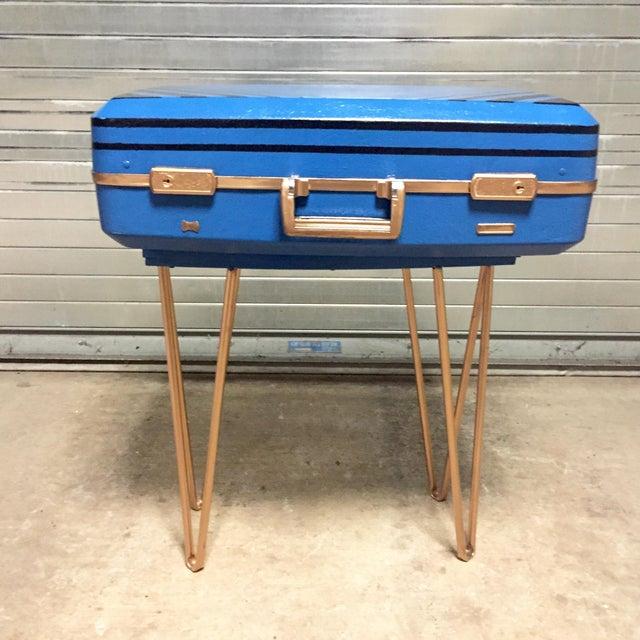 Vintage Retro Blue Suitcase Table - Image 3 of 7