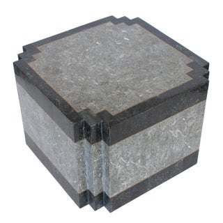 Maitland Smith Tessellated Stone & Brass Side Table