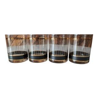 Vintage Gold and Black striped rocks Cocktail Glasses