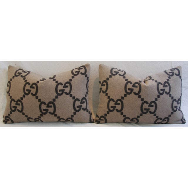 """23"""" X 16"""" Custom Tailored Gucci Cashmere & Velvet Feather/Down Pillows - Pair - Image 3 of 11"""