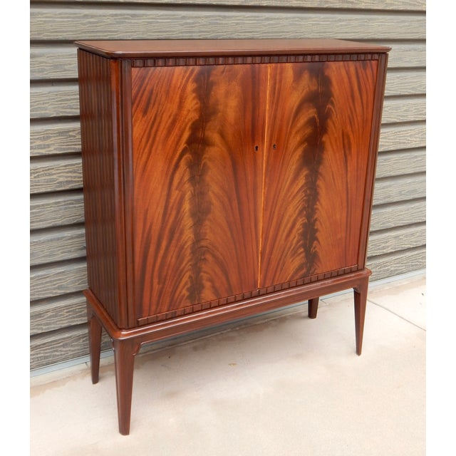 Image of Swedish Moderne Cabinet in Flame Mahogany, 1940's