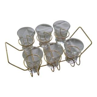Mid-Century Brass Tray & Glasses - Set of 7