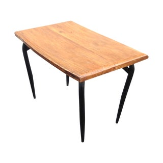 Natural Wooden Slab Table with Black Steel Base