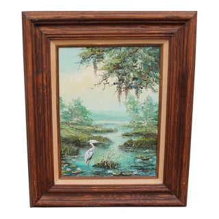 "Mid Century Era Oil Painting ""Pelican - Beautiful Surroundings"""
