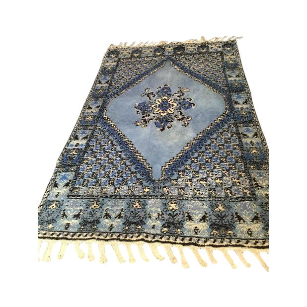 Large Blue Moroccan Rug - 4' x 6' - Image 1 of 9