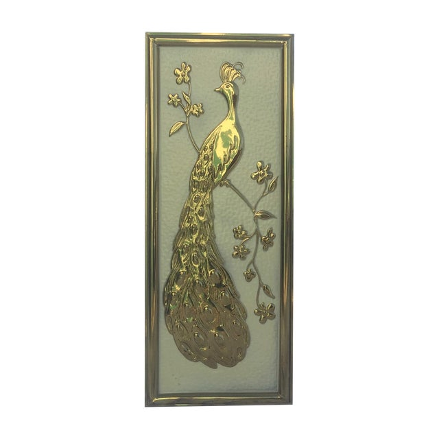 Vintage Brass Peacock Wall Hanging - Left Facing - Image 1 of 5