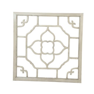 "Ivory Lacquered Floral Screen - 30"" x 30"""