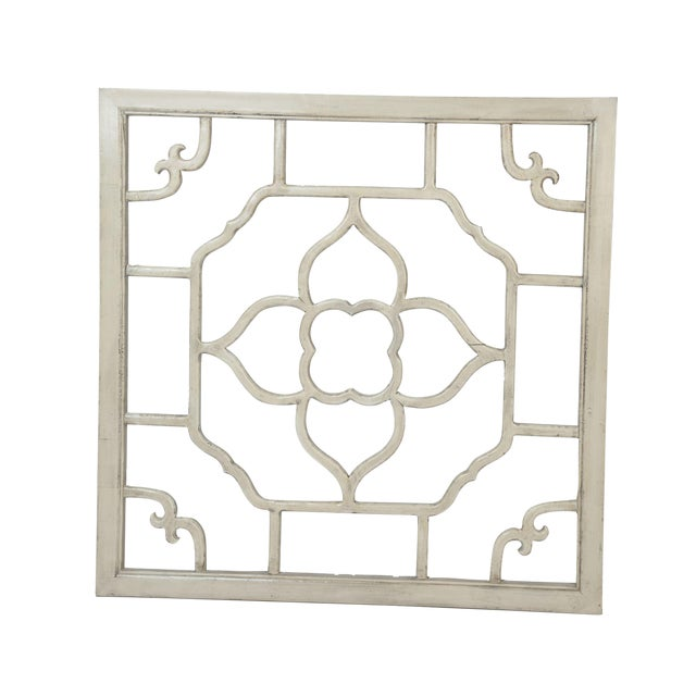 """Ivory Lacquered Floral Screen - 30"""" x 30"""" - Image 1 of 2"""