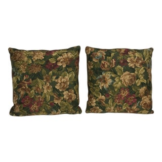 Custom Floral Cotton Satin Feather Pillows - A Pair