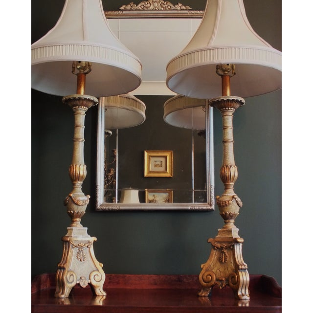 Italian Florentine Candlestick Lamps - a Pair - Image 5 of 10