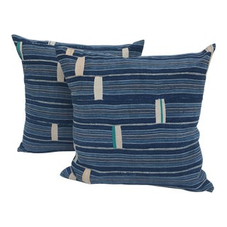 African Indigo Cotton Striped Patched Pillows - A Pair