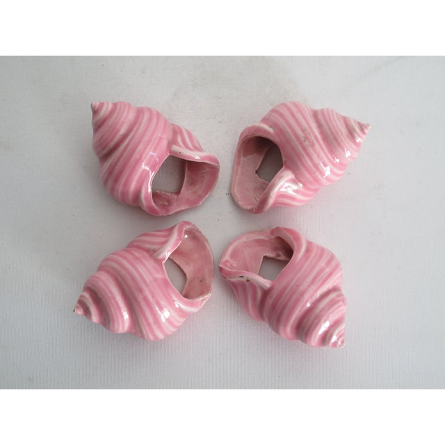 Pink Ceramic Shell Napkin Rings - Set of 4 - Image 3 of 5