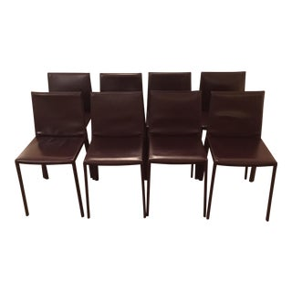 Aubergine Leather Dining Chairs - Set of 8