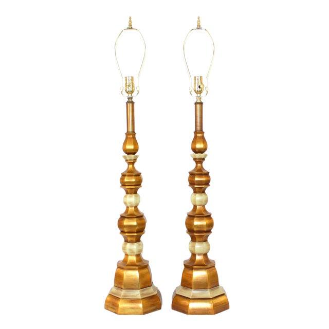 Hollywood Regency Italian Giltwood Lamps - Pair - Image 1 of 8