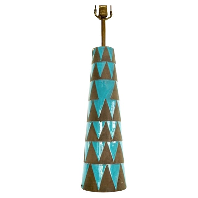 Image of Raymor Turquoise Triangle Lamp