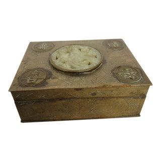 Chinese Brass & Jadeite Box