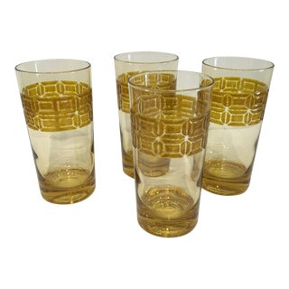 Mid-Century Gold Geometric Glasses- Set of 4