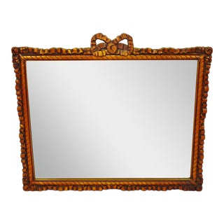 Early Gesso Bow Top Framed Wall Mirror
