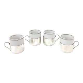 Silver & Porcelain Demitasse Cup Set - 8 Pieces