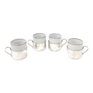 Silver & Porcelain Demitasse Cup Set - 8 Pieces