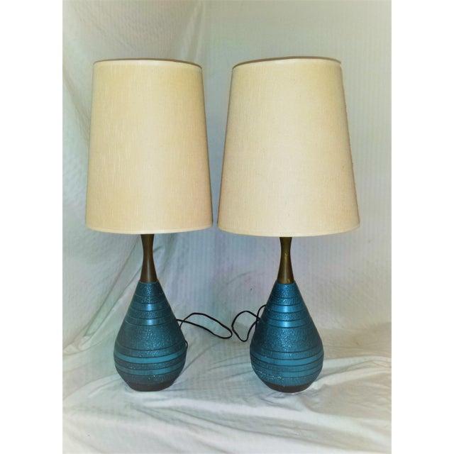 Mid-Century Ceramic Turquoise & Teak Lamps - A Pair - Image 2 of 9
