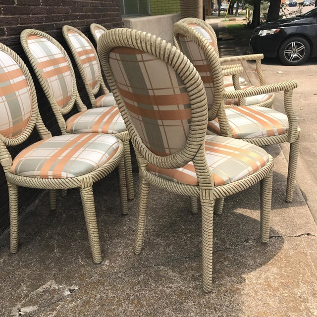 Vintage Carved Rope Dining Chairs - Set of 8 - Image 3 of 10