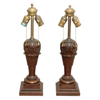 Carved Table Lamps - A Pair