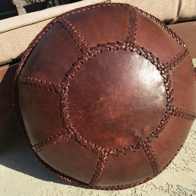 Vintage Bohemian Hand Stitched Leather Floor Pillow - Image 5 of 11