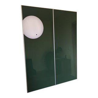 Minimalist Green Cast Glass Diptych Artwork - A Pair