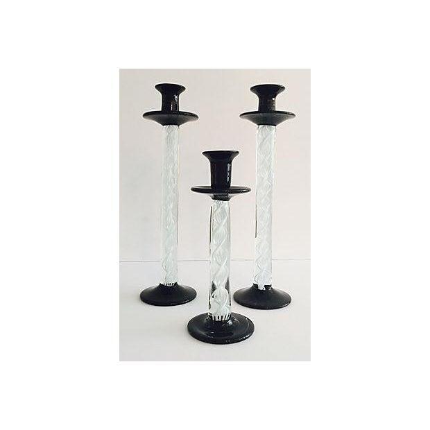 Murano Black & White Candlesticks - Set of 3 - Image 2 of 6
