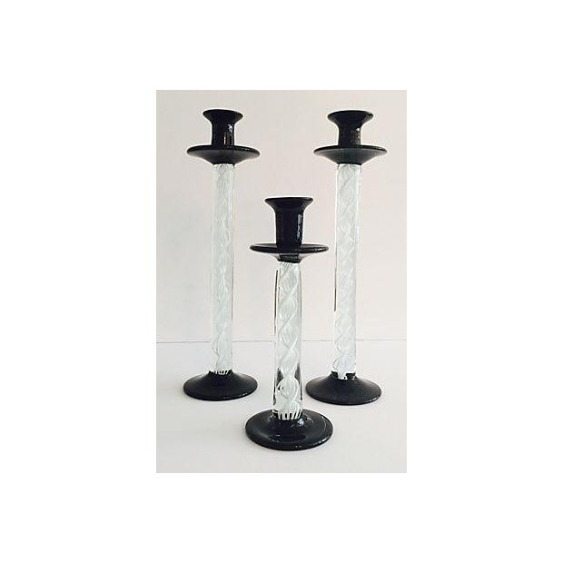 Image of Murano Black & White Candlesticks - Set of 3