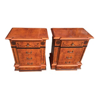 Pair of Rare Inlaid Amboan Nightstands Neoclassical