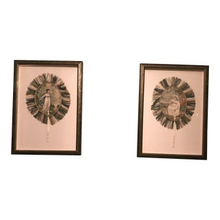 Framed Silk Embroidered Antique Fans - A Pair