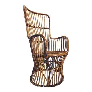 Franco Albini Style Bentwood Rattan Chair