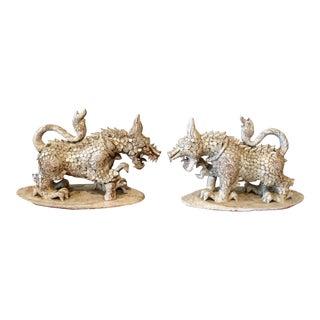 Antique Terracotta Burmese Foo Dogs - A Pair