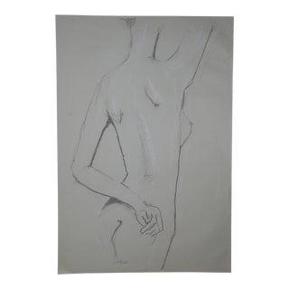 Original Vintage Female Nude Drawing-Signed
