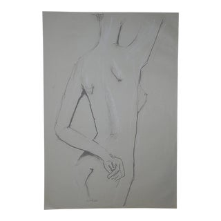Original Vintage Female Nude Drawing-Signed