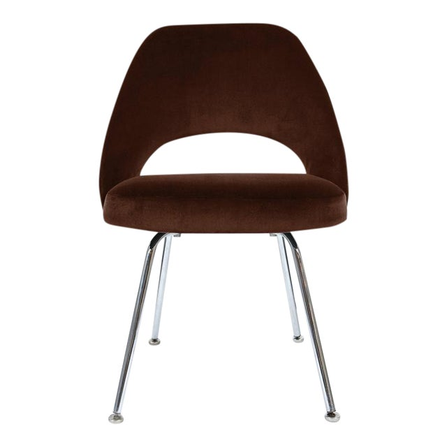 Saarinen Executive Armless Chair in Espresso Brown Velvet - Image 1 of 3