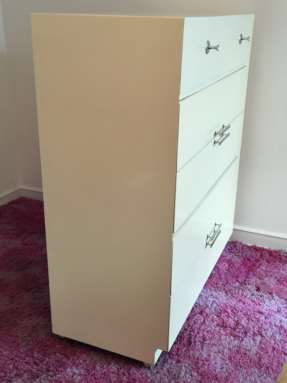 Albert Furniture White Lacquer Bureau   Image 7 Of 9