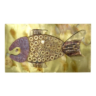 Mid-Century Brass & Copper Fish Wall Sculpture