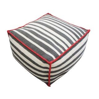 Gray & Red Striped Pouf
