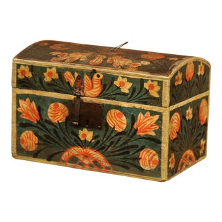 18th Century French Painted Trunk with Birds and Flowers from Normandy