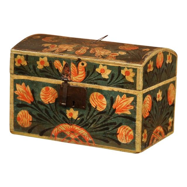 18th Century French Painted Trunk with Birds and Flowers from Normandy - Image 1 of 8