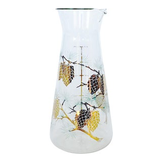 Vintage Gold Pine Cone Glass Pitcher