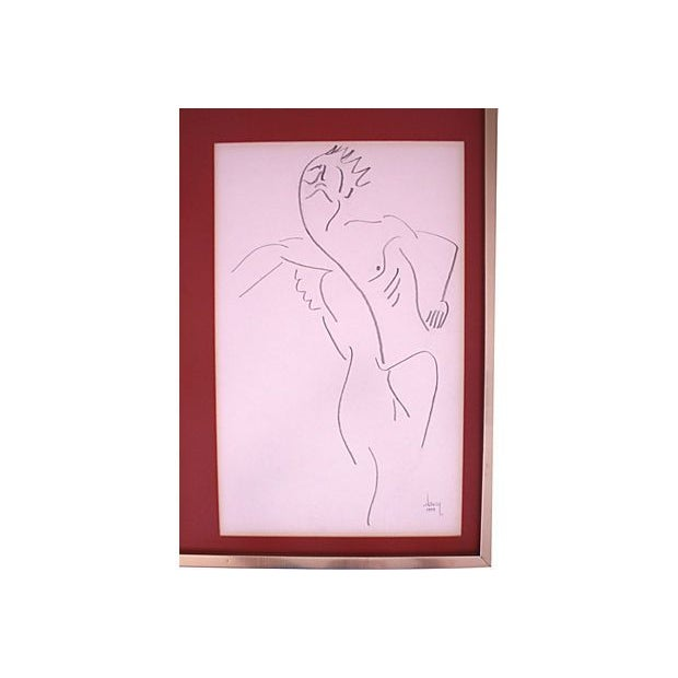 1977 Untitled Abstract Drawing of Nude Male - Image 3 of 5