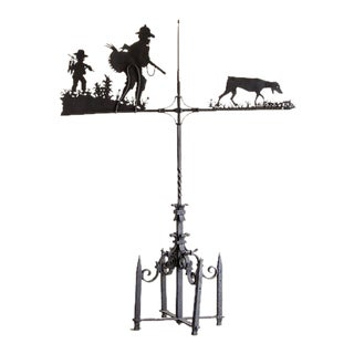 Enormous Hand Made Antique French Iron Hunting Motif Weather Vane circa 1900