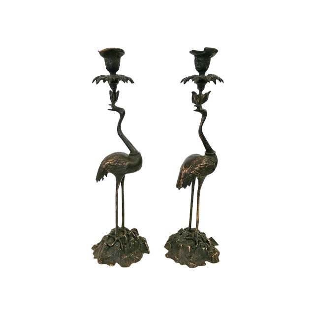 Crane Candlesticks in Bronze - A Pair - Image 1 of 5