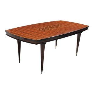 "French Art Deco Macassar Ebony ""Diamond"" Center Inlay Dining Table"