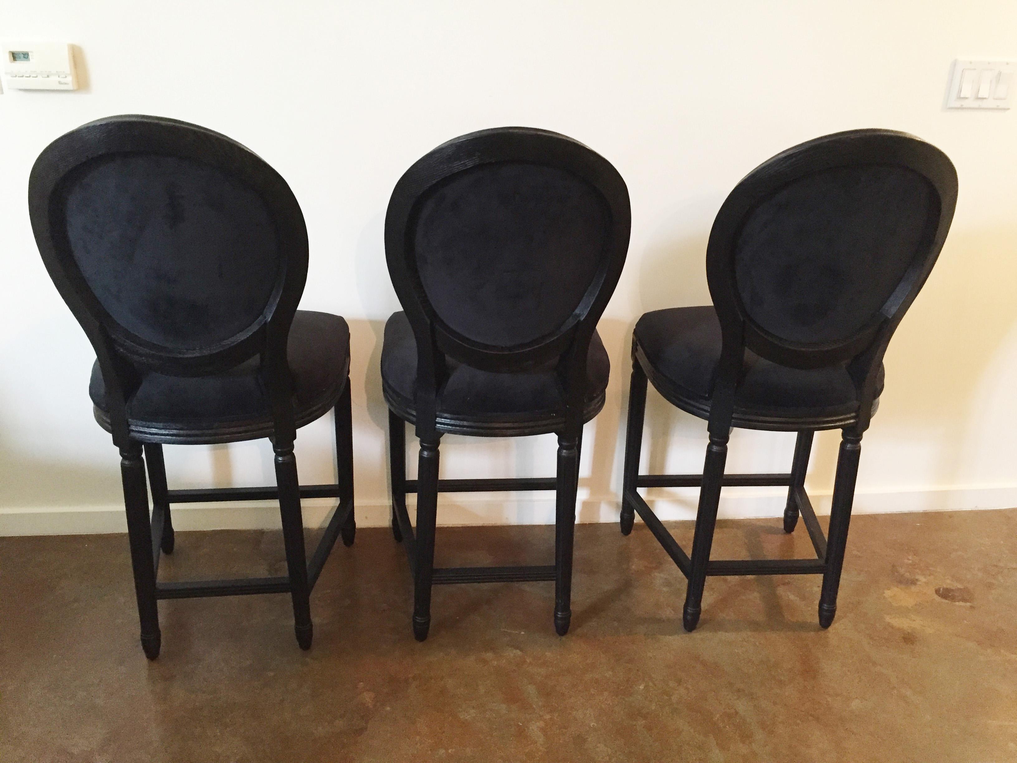 Black Velvet French Bar Stools Set Of 3 Chairish