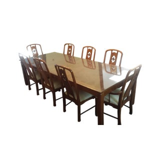 Mahogany Glass Plated Dining Set